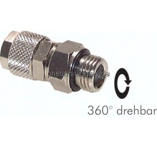 Gerade Verschraubungen mit konischem Gewinde Messing vernickelt R 1//4 x 6//4mm